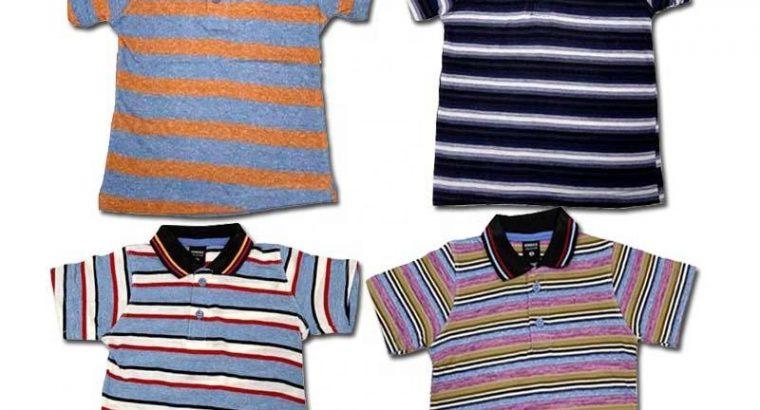 100% Cotton Striped Polo For Kids
