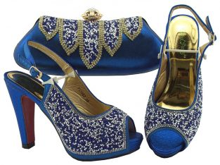 Women Italian African Party Pumps Shoe and Bag Set