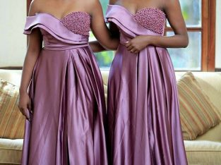 Beaded Women Formal Purple Bridesmaid Dresses