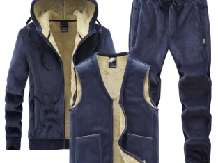 Men Sets 3 Piece Hooded Jacket+Vest+Track Pants