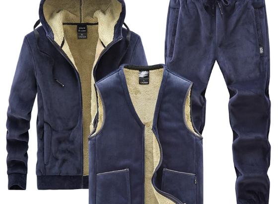 Men Sets 3 Piece Hooded Jacket+Vest+Track Pants
