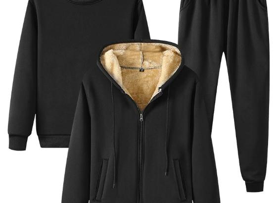 Winter Men Suit Fleece Sportswear Jacket+Sweatshirt